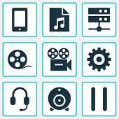 Multimedia Icons Set With Pause, Web Cam, Song List And Other Video Elements. Isolated  Illustration poster