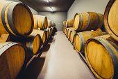 Wooden Wine Barrels Stacked In Modern Winery Cellar In Spain. poster