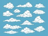 Hand Drawn Clouds. Pencil Sketch Sky Cloudscape. Outline Sketching Cloud Vintage Vector Engraved Bac poster
