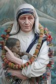 stock photo of nobel peace prize  - Mother Teresa statue in Prem Dan house - JPG
