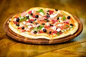 Pizzeria Restaurant. Delicious Hot Pizza On Wooden Board Plate. Food Delivery Service. Pizza Served  poster