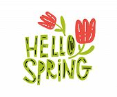 Hello, Spring Typography Vector Design For Greeting Cards And Poster On White Background. Vector Ill poster
