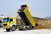 Ten Yard Dump Truck Delivering A Load Of Dirt For A Fill Project At A New Commercial Development Con poster