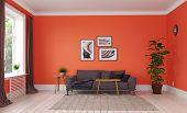 modern living room. living coral interior design. 3d rendering concept poster