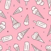 Ice Cream Pattern On Pink Background. Seamless Ice Creams Drawn By Doodle Style. Vector Seamless Pat poster