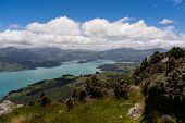 Akaroa Ocean Bay In New Zealand, Amazing View From The Lookout Of Akaroa, Above The Beautiful Mounta poster