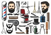 Barber Tools, Barbershop And Hairdresser Equipment, Beard Or Mustache Shave And Haircut. Vector Barb poster