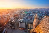 Vienna. Aerial Cityscape Image Of Vienna Capital City Of Austria During Sunset. poster