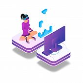 Isometric Image Gaming In Virtual Reality In 3d. Vector Illustration Girl Play Video Game On Tv Usin poster