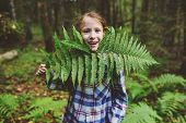 Happy Kid Girl Exploring Summer Forest, Traveling On Vacation. Teaching Kids To Love Nature. Earth D poster