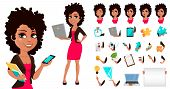 Young African American Business Woman In Casual Clothes. Pack Of Body Parts, Emotions And Things. Ca poster