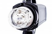 Photo Studio Strobe Light Flash Bulb. Close Up View Of Professional Studio Strobe Flash Lamp Isolate poster