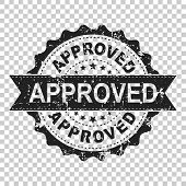Approved Scratch Seal Stamp Vector Icon. Approve Accepted Badge Flat Vector Illustration. Business C poster