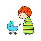 Smiling Mother With Stroller Simple Vector Illustration On White Background. Young Mommy With Pram poster