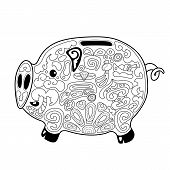 Cute Pig Money Saving Box With Chinese Style Ornament For Coloring. Chinese New Year Pig Vector Illu poster