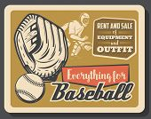 Baseball Sport Retro Poster, Vector. Glove With Ball And Catcher Player In Helmet, Championship Or T poster