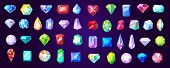 Precious Stones And Gems, Jewelry. Vector Rhinestone And Brilliant, Sapphire And Amethyst, Aquamarin poster
