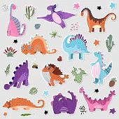 Cute Cartoon Set Of Dino Stickers In Scandinavian Style, Vector Illustration For Children, Kid Stick poster