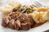 picture of pot roast  - Roast beef smothered in mushroom gravy with mashed potatoes - JPG