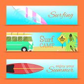 Summer Set Of Banners Vector Illustration. Surfing On Water Waves. Surf Camp. Enjoy Your Summer. Bea poster