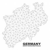 Abstract North Rhine-westphalia Land Map Isolated On A White Background. Triangular Mesh Model In Bl poster