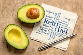 keto diet word cloud  - handwriting on napkin with a cut avocado against bark paper poster