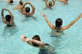 People are doing aerobic in pool