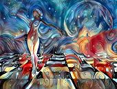 Colorful abstract painting. Graceful womans statue on chessboard. 3D rendering poster