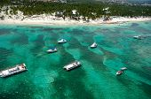 Boats and beach from above. Dominican Republic.