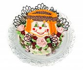 picture of clown rose  - delicious cake with a pattern in the form of little faces clown on a transparent plate - JPG
