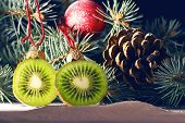 Christmas Tree Decorated With Fruits Of Kiwi Fruit And Clementine. Healthy Food And Nutrition. Chris poster