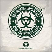 Alternative No Biohazardous Waste Stamp Containing: Two Environmentally Sound Eco Motifs In Circle F poster