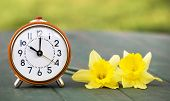 Daylight Savings Time, Spring Forward - Web Banner Of A Retro Alarm Clock And Easter Flowers poster