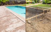 Before and After Pool Build Construction Site. poster