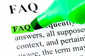 FAQ frequently asked questions definition highlighted by green marker