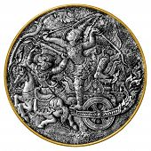 stock photo of arjuna  - Black and white image of an antique medallion showing Arjuna and Hanuman characters from Hindu mythology - JPG