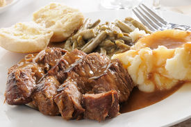 image of pot roast  - Roast beef smothered in mushroom gravy with mashed potatoes - JPG