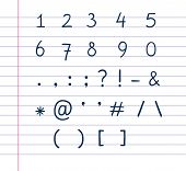 foto of hashtag  - Several handwritten text symbols on lined paper - JPG