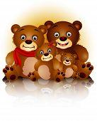 happy bear family in harmony and love