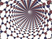 picture of nanotube  - 3d render of a boron nitride nanotube - JPG