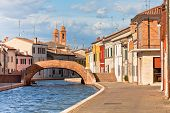 Comacchio, Italy - Canal And Colorful Houses