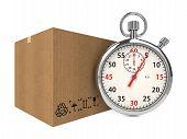 Stopwatch Over a Carton Boxes.