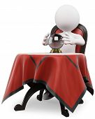 pic of clairvoyant  - 3d white person with a crystal ball on a table sitting on a old chair - JPG