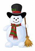 Christmas snowman. Vector illustration.