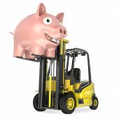 Fork Lift Truck Lifts Up Coin Bank