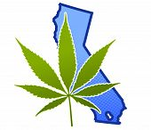 stock photo of doritos  - Marijuana leaf superimposed over a California in the United States - JPG