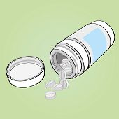 medicine bottle and pills vector