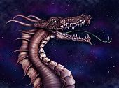 foto of arthurian  - Illustration of a fierce dragon with a star filled night sky - JPG