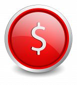 Dollar red button - design web icon