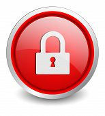 Lock close red button - design web icon